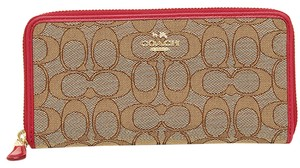 Coach Coach Outline Signature Accordion Zip Around Wallet