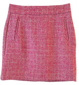 Banana Republic Tweed Chic Wool Mini Business Attire Mini Skirt Parrot Pink