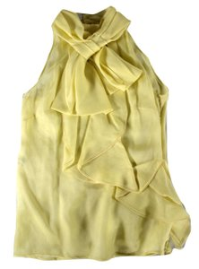 Valentino Lemon Ruffle Sheer Dg Top Yellow