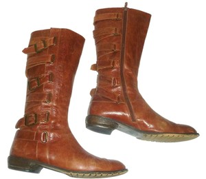 Seychelles Strappy Buckle Wrap Distressed Leather Brown Boots