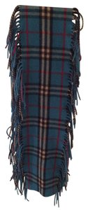 Burberry Burberry Blue Classic Wool and Cashmere Fringe Scarf