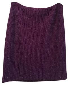 St. John Tweed Metallic Skirt Purple