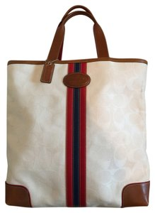 Coach Casual Square Letter Size Tote in White + Tricolor stripe