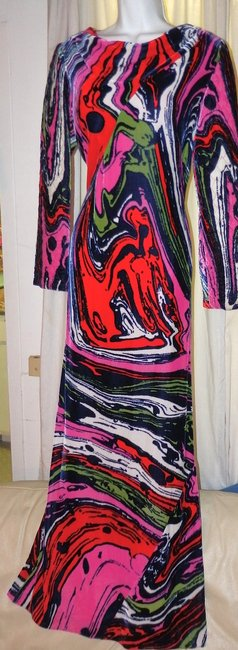 Christian Lacroix Silk Velvet Abstract Versace Pucci Dress Image 1