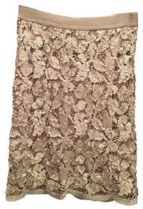 BCBGMAXAZRIA Sequined Mini Skirt Ivory