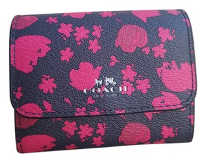 Coach PRAIRIE CALICO FLORAL ACCORDIAN CARD CASE WALLET MIDNIGHT PINK RUBY