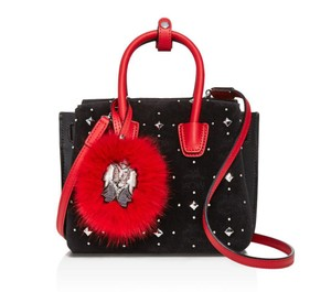 MCM Studded Velvet Lambskin Monogram Satchel in Black Red