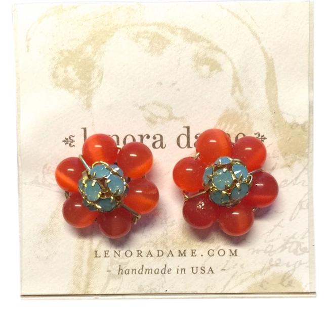 Item - Coral and Pacific Opal Earrings