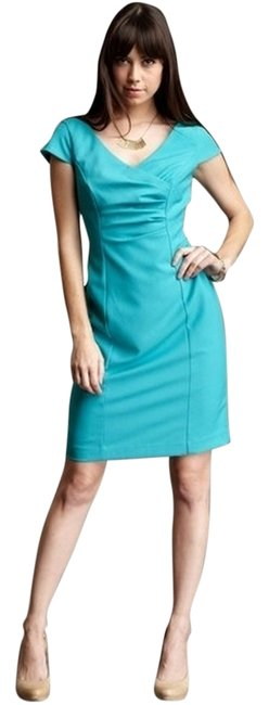Ellen Tracy Assymetrical Ruched Ruching Turquoise Knee-length Cap Sleeve Princess-seamed Sheath Dress