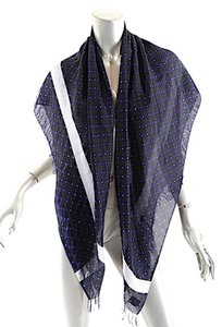 Dries van Noten DRIES VAN NOTEN Navy/Multi Beautifully woven 100% Silk Scarf w/Fringe
