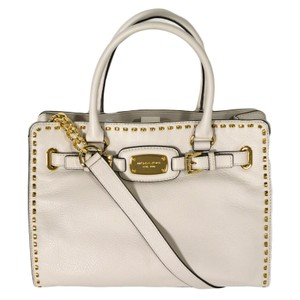 Michael Kors Mk Large Hamilton Mk Hamilton Whipped Mk Gold Tote in Vanilla White/Gold Hardware