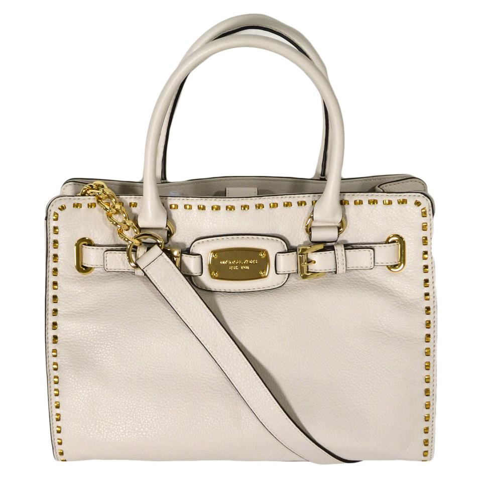 d6db9441be64a Michael Kors Hamilton Large Satchel Chained Whipped Stitched New with Tags  Vanilla White Gold Hardware Leather Tote 48% off retail