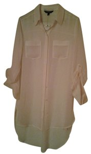 Express Polyester Longsleeve Top Creme/Off White