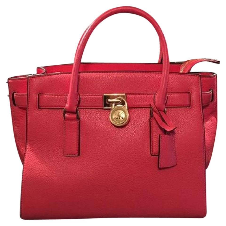 96faf91a2f54 Michael Kors Purse Mk Hamilton Satchel Mk Hamilton Travel Mk Tote in  WATERMELON CORAL RED/ ...