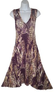 Komarov Crinkled Animal Print Asymmetric Dress