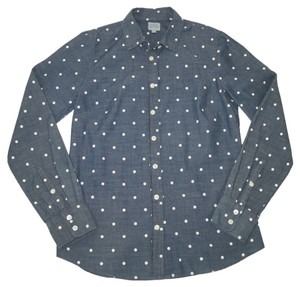 J.Crew Polka Dot Chambray Cotton Perfect Shirt Button Down Shirt