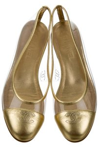 Chanel Interlocking Cc Embellished Metallic Round Toe Gold Hardware Gold, Clear Flats