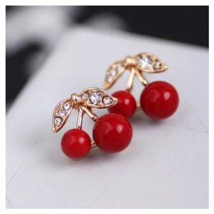 Next Level Dress Red Cherry Leaf Rhinestone Stud Earrings