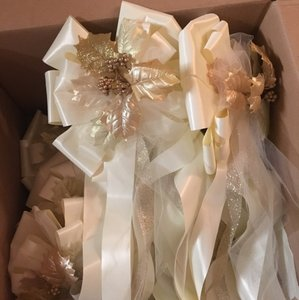 Ivory Rose Gold & Champagne Pew Bows