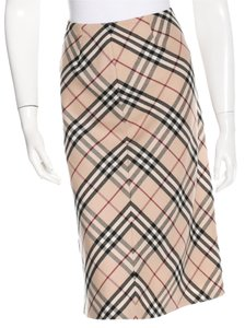 Burberry Nova Check Plaid Monogram Silver Hardware Wool Skirt Beige, Black, Red