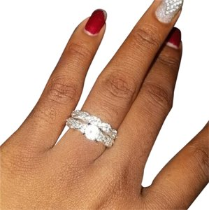 Other Silver Plated Rhinestone Two Piece Ring Set