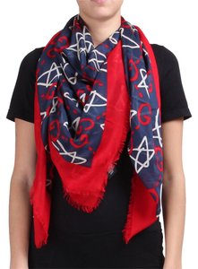 Gucci Ghost Red and Navy Shawl