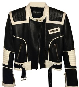 Balmain black white Leather Jacket