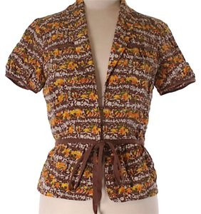 David Meister Button Down Shirt Brown, Yellow
