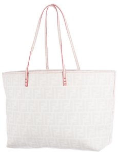 Fendi Zucca Monogram Gold Hardware Oversized Logo Tote in White, Beige
