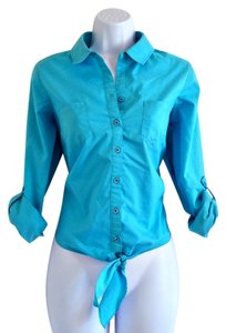 Zac & Rachel Button Up Teal Aqua Tie Bottom Button Down Shirt Blue