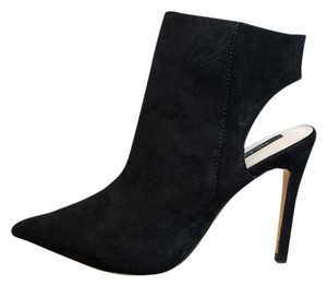 Zara Faux Suede Ankle Heeled Stiletto Black Boots