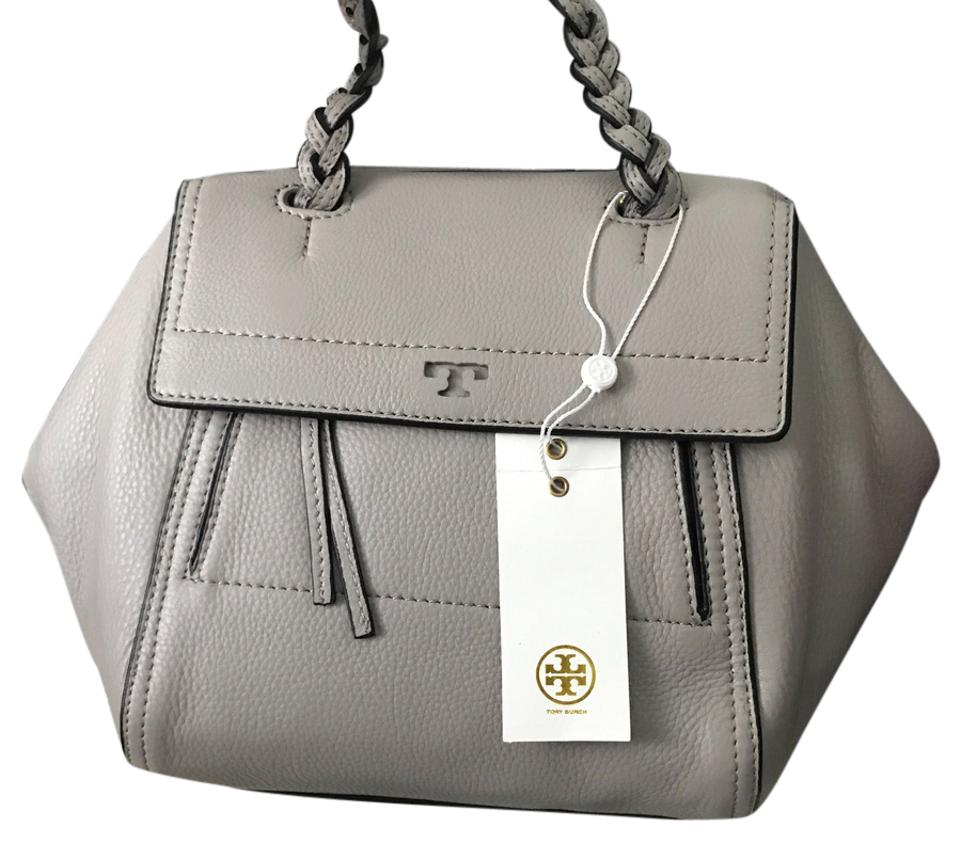 43736773854 Tory Burch Half-Moon Small French Gray Leather Satchel - Tradesy