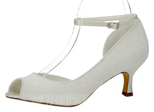 Other Lace Peep Toe Ankle Strap Ivory Pumps