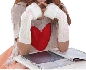 Unknown Extra long knit faux fur fingerless gloves arm warmers free shipping