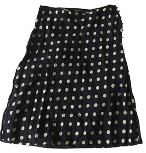 Tahari Navy Polka Dot Silk Skirt