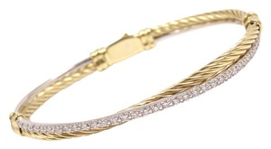 David Yurman David Yurman Solid 18K Gold Diamond Cable Crossover Bracelet