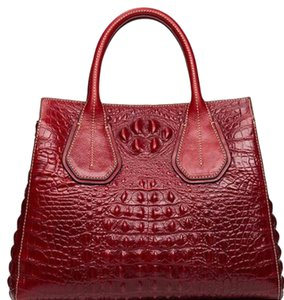 Other Gonzalez Crocodile Satchel in Red