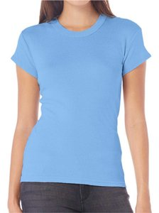 Michael Stars Metallic Stretchy T Shirt Blue