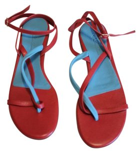 Loro Piana Leather Sandal Red Turquoise Flats