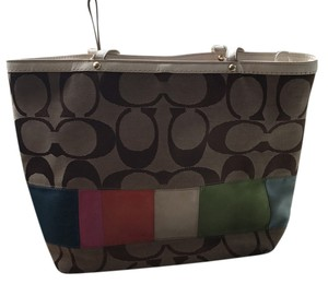 Coach Tote in tan and multi colored