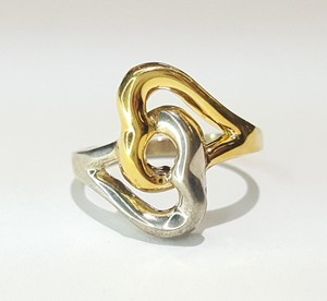 Tiffany & Co. Beautiful 18K & Sterling Silver Connected Double Heart Ring Size 7.5