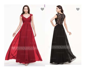 Burgundy A-line/princess V-neck Floor-length Chiffon Lace Bridesmaid Dress Dress