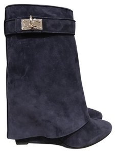 Givenchy Shark Lock Wedge Stiletto blue Boots