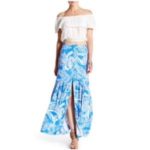 Free People Smooth Sail Flowy Print Maxi Maxi Skirt Blue Combo