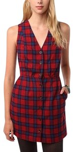 Urban Outfitters short dress Red Plaid Sleeveless Wool on Tradesy