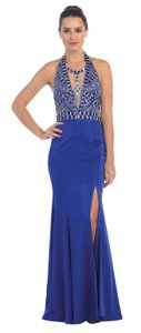 Royal Blue Rhinestones Bust Flared Long Skirt Halter Formal Dress