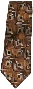 Stacy Adams New Men's STACY ADAMS 100% Silk Bronze and Browns Geometric Necktie