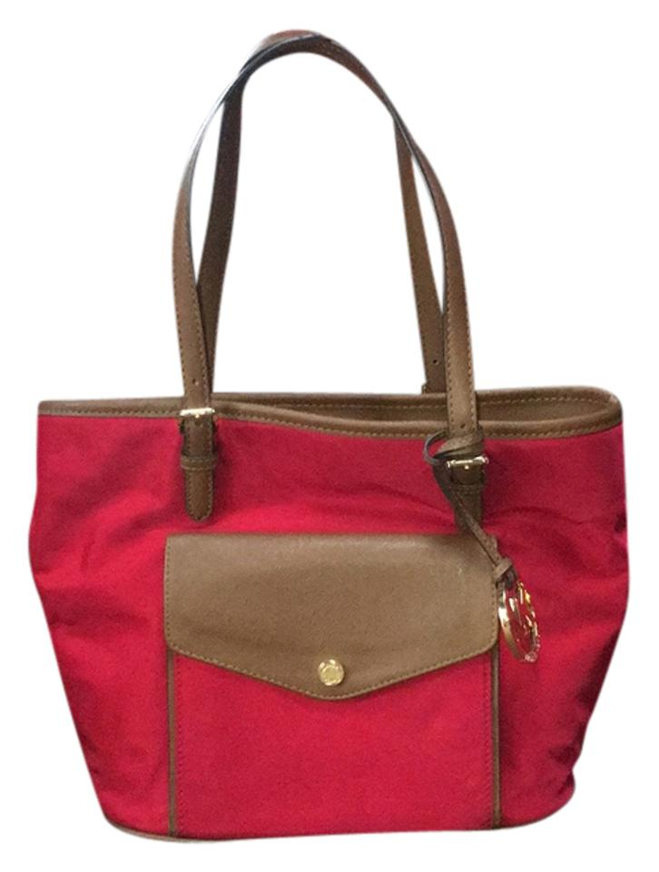 4cd7388430a69f Michael Kors Jet Set Red Nylon and Leather Tote - Tradesy
