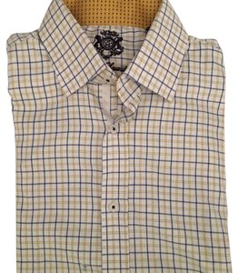 English Laundry Button Down Shirt yellow,blue and white
