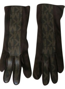 Michael Kors Michael Kors Signature MK Brown Suede Leather & Cashmere Hand gloves
